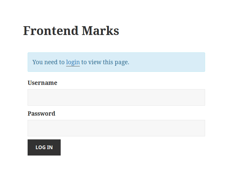 Easy Student Result : Frontend Marks – User is not logged in