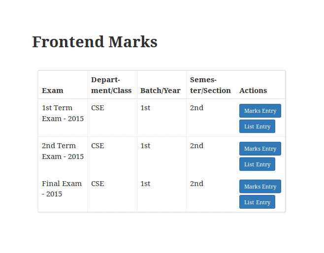 Easy Student Result : Frontend Marks – Assigned Result List