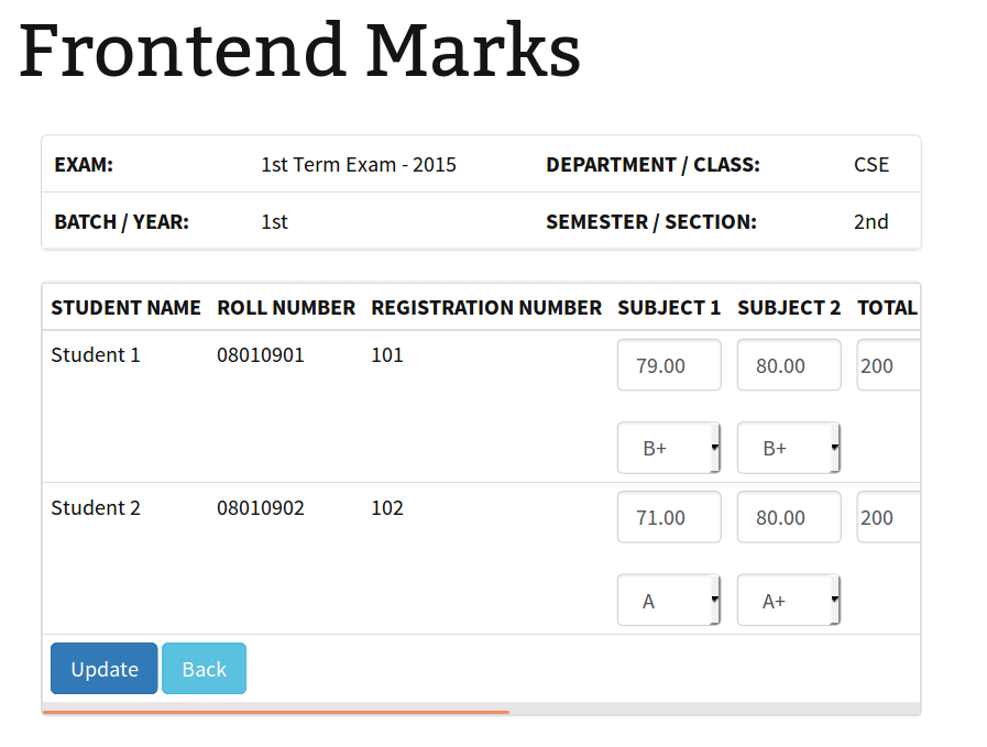 Frontend Marks - List Entry Marks