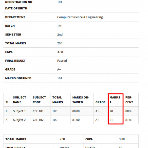 ESR Premium - Result Fields : Frontend Example