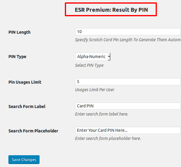 ESR Search Result By PIn - Settings Page